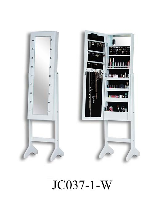Standing jewelry mirror dressing cabinet  JC037-1-W