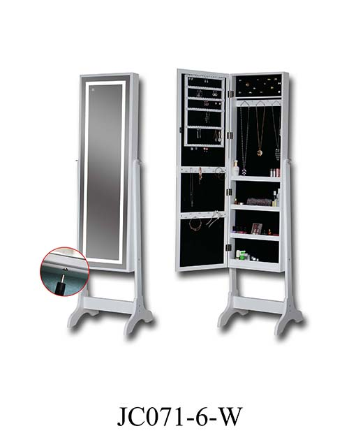 Hot selling wall mirrored jewelry cabinet  JC071-6-W