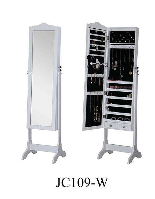 MDF wooden mirror jewelry armoire cabinet  JC109-W