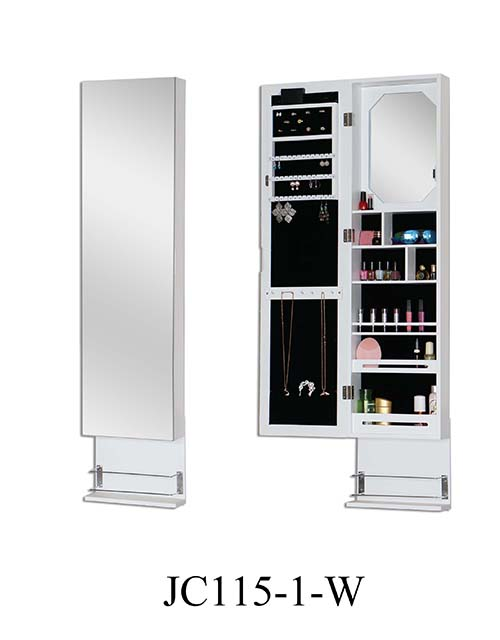 Floor standing jewelry cabinet custom mirror  JC115-1-W
